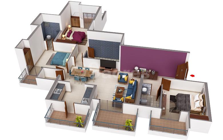 T&T Eutopia 3BHK Floor Plan